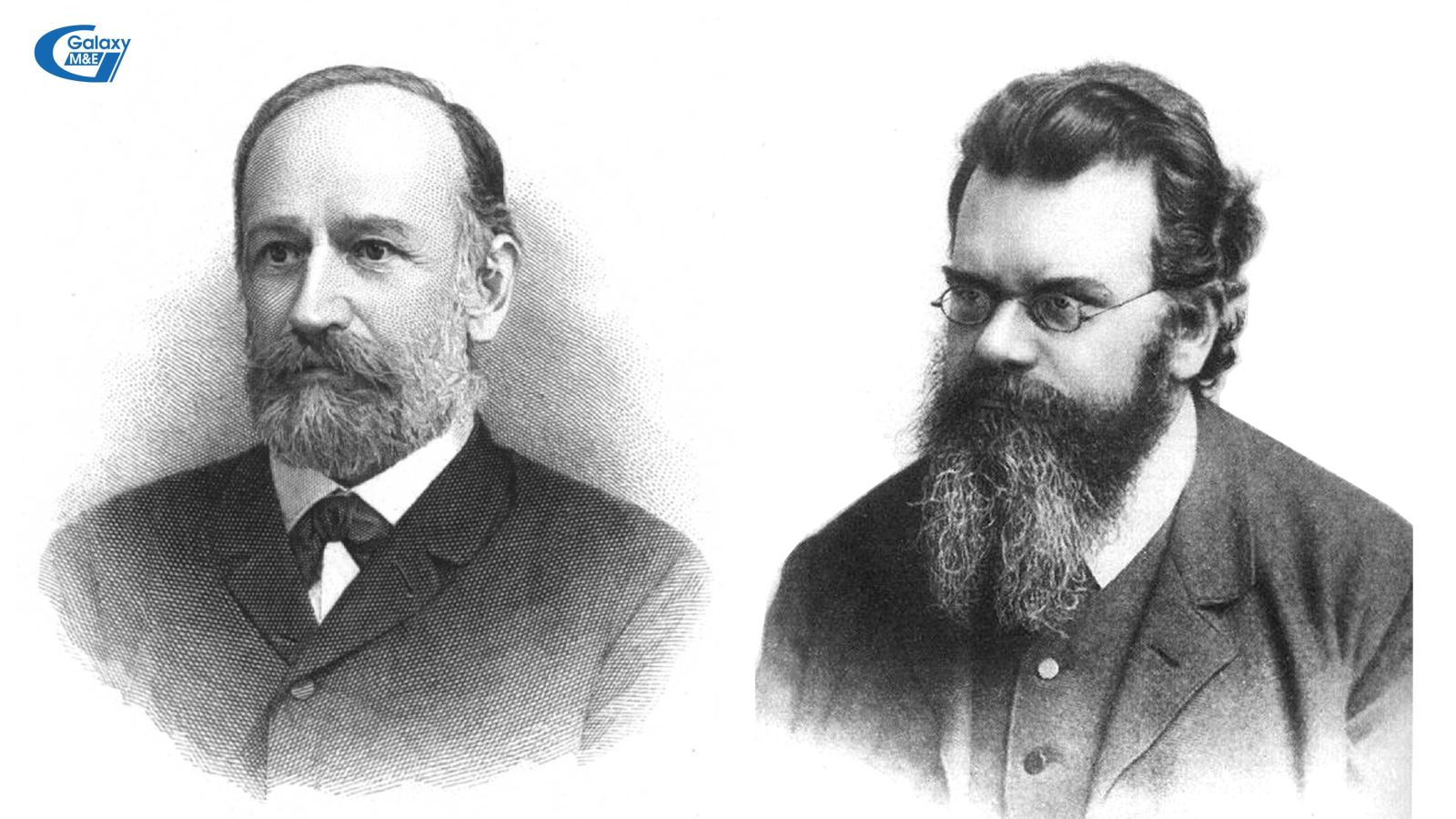Physicist Josef Stefan (1835 - 1893) on the left and Ludwig Eduard Boltzmann (1844 - 1906) on the right.